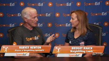 Harvey Newton talks with Bridget Raach, weightlifting coach